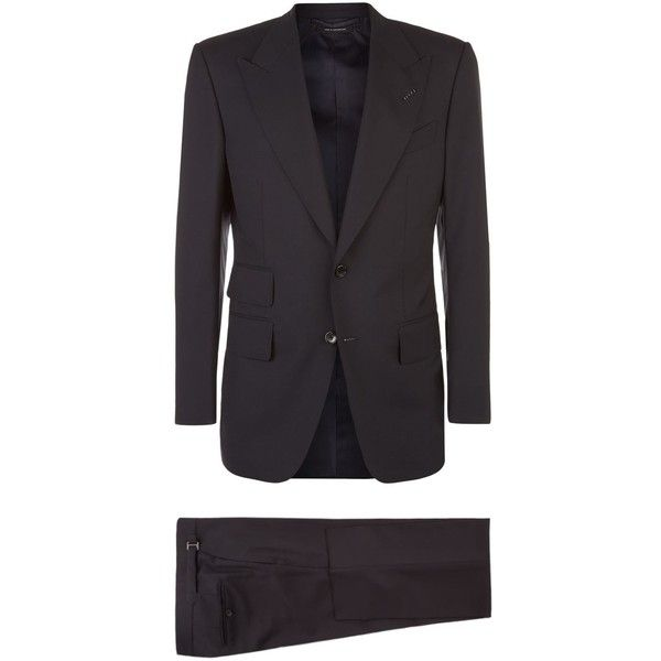 TOM FORD Windsor Suit ($2,990) ❤ liked on Polyvore featuring men's fashion, men's clothing, men's suits, mens two piece suits, men's 2 piece suits, mens navy blue suit, tom ford mens suits and mens navy suit
