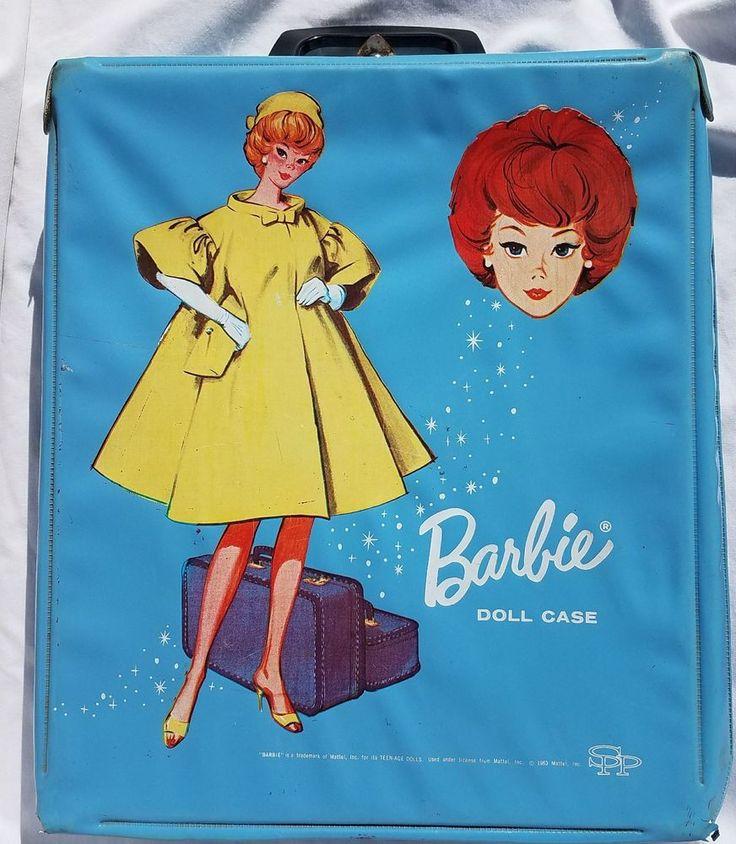 Vintage 1963 Mattel Barbie Doll Case Wardrobe Light Blue Yellow Flare Dress   | eBay
