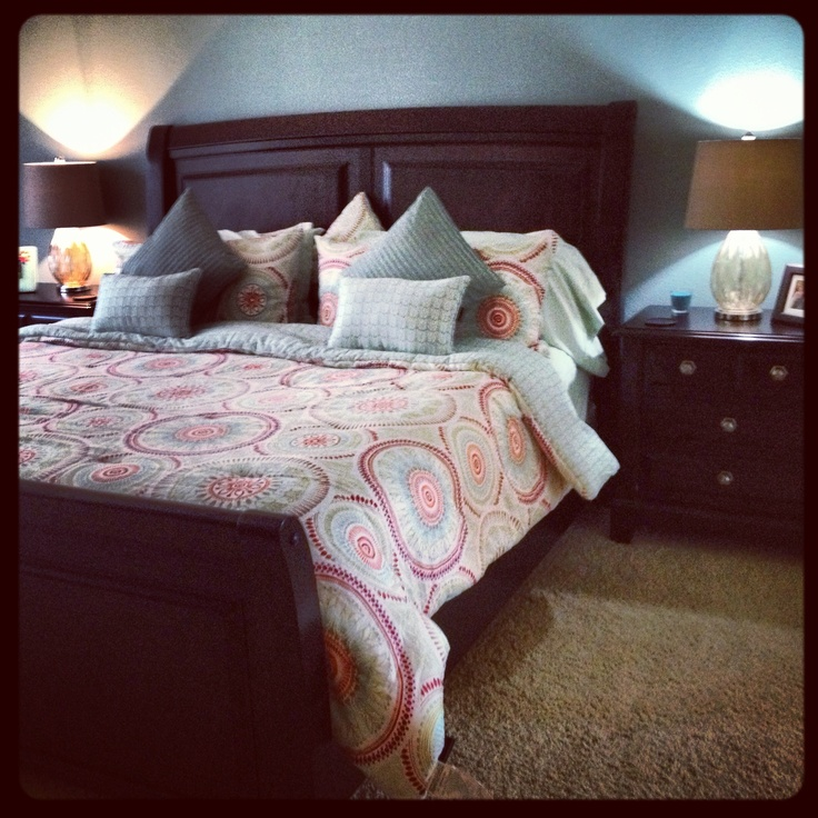 Spa Blue And Red Bedroom With Dark Furniture. Cynthia Rowley Bedding. Lamps  From Hobby
