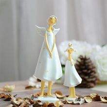 2PCS/SET Europe Style Resin Angel mother and daughter Elf Figurines Home Decoration Creative Gifts Crafts