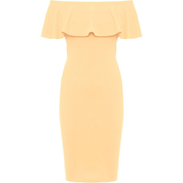 Kaila Frill Bardot Party Dress (£25) ❤ liked on Polyvore featuring dresses, plus size, camel, off the shoulder ruffle dress, off shoulder cocktail dress, women's plus size dresses, off-the-shoulder ruffle dresses and plus size cocktail dresses