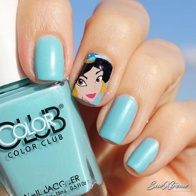 Disney nail art. Princesa Disney. Jasmin. Aladdin. Freehand nail art. Manicura. Suextreme