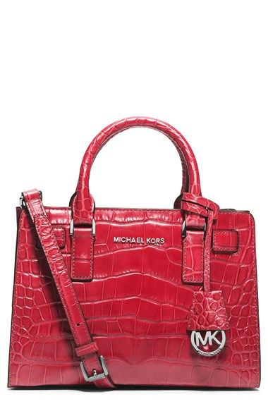 MICHAEL Michael Kors 'Small Dillon' Croc Embossed Leather Satchel available at #Nordstrom