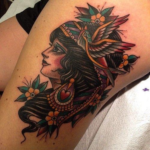 Girly gypsy #ladyhead #gypsy #traditional #tattoo