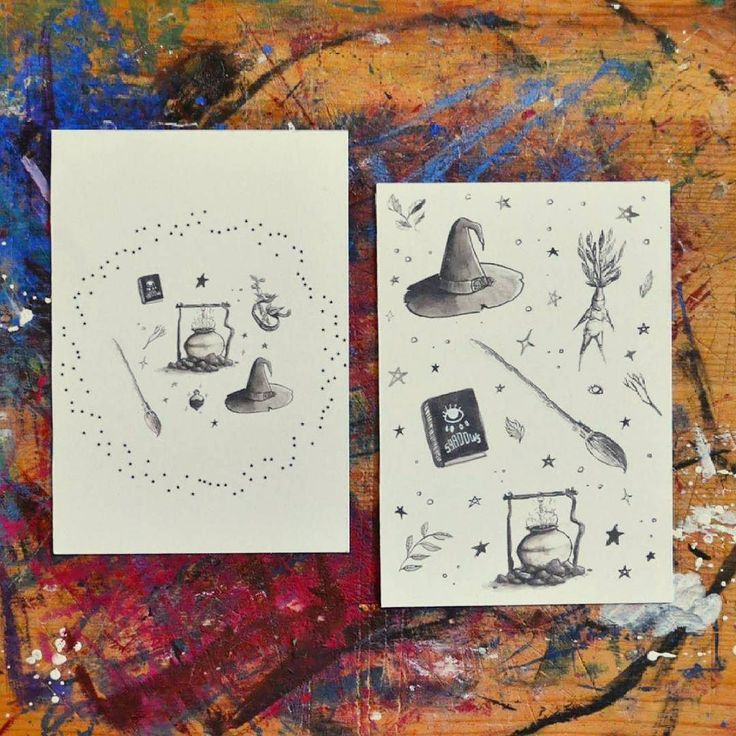 """Hat magic herbs cauldron and a broom! """"Witch essentials"""" postcards will be avaible very soon in our etsy shop   Cappello libro delle ombre erbe magiche calderone e una scopa! Presto prestissimo troverete le cartoline """"Witch essentials"""" nel nostro etsy shop   #lamandragola #witchesofinstagram #witchessentials #illustrations #papercraft #postcard #witchcraft #watercolor #mandrake #illustrationgram #instacraft #autumnmood #witchy #witch #cauldron #patterns #illustrationoftheday #halloween"""