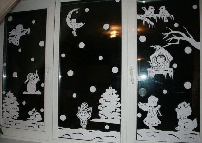HappyModern.RU | 60 идей украшений на окна к Новому 2016 году | http://happymodern.ru