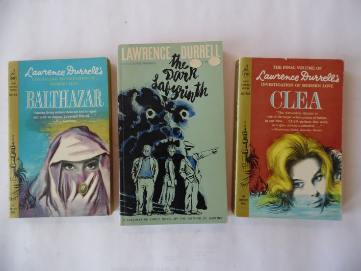 Three Vintage Lawrence Durrell paprback novels: The Dark Labyrinth, Balthazar and Clea by theposterposter on Etsy