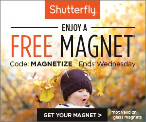 Through 10/8, Shutterfly is offering ALL customers 1 FREE magnet of any size ($8.99 value) featuring a favorite photo of your choice, with promo code MAGNETIZE. Shipping is just $3.99. Heads up - this offer is not valid on Glass Magnets. I love the idea of creating a gift for a friend using a photo of a [...]