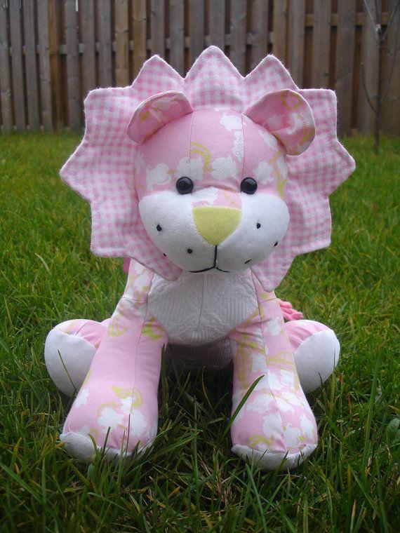Stuffed Lion Plush Pink Cotton Fabric Babies Clothes