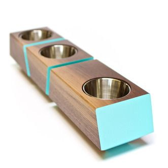 Revolution Design House Revolution Design House's handcrafted Boxcar planter in Walnut wood and painted Blue.   2Modern Furniture & Lighting