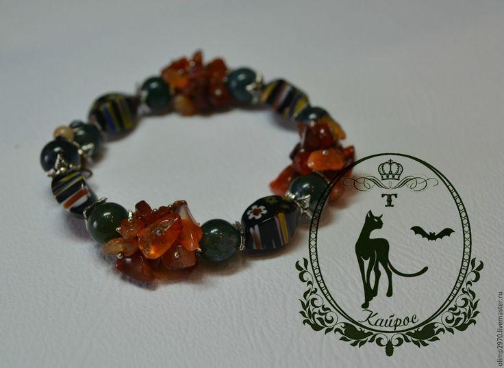 Купить Браслет - комбинированный, браслет, браслет с камнями, натуральные камни, агат, стекло мурано