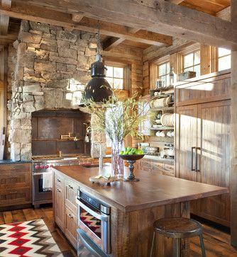 home apartment rustic wooden cabin kitchen interiors on laminate floor plus stoned wall accent also black pendant lamp idea inspiring small cabin design - Rustic Home Designs