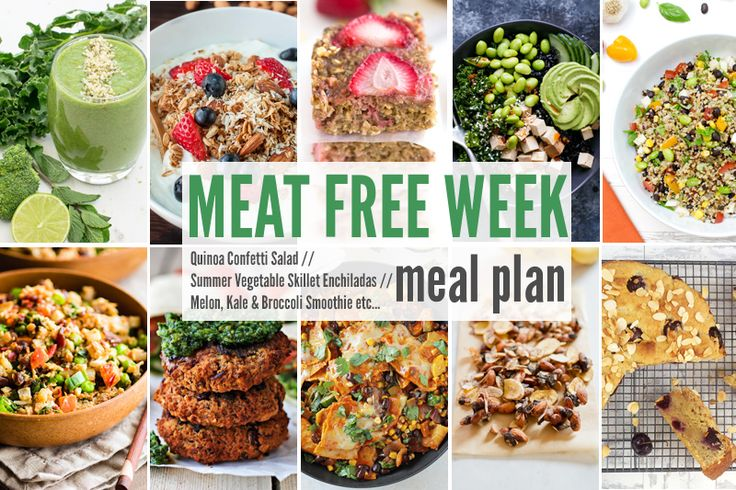 Meal Free Meal Plan: Quinoa Confetti Salad, Summer Vegetable Skillet Enchiladas + Melon, Kale & Broccoli Smoothie