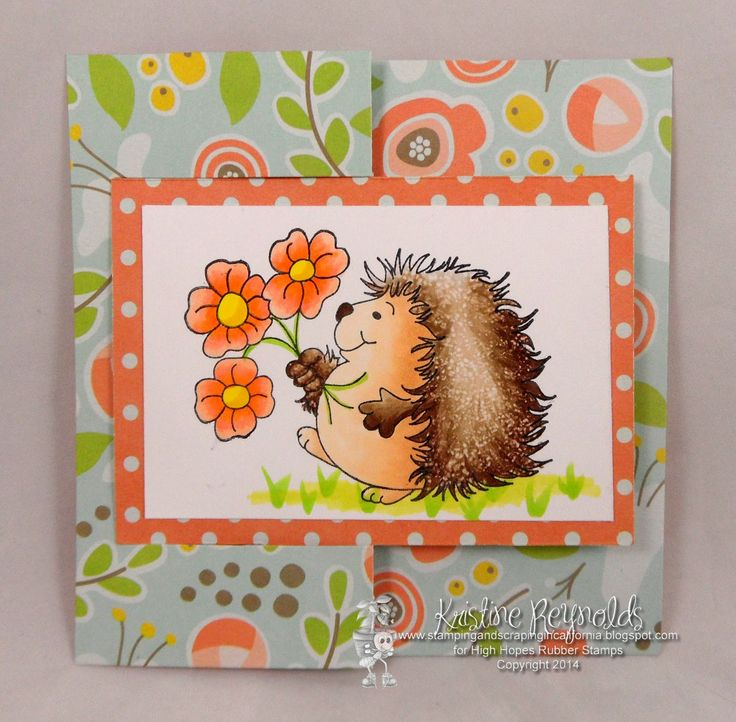 """Flip-it card by Kristine -  using """"Hedgy Has Flowers"""" (R500)"""