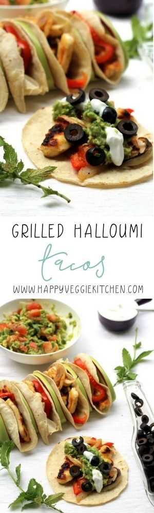 Crispy grilled halloumi makes the perfect vegetarian tacos. Everyone will want a taste! A Greek / Mexican mashup that works beautifully, these tacos are made on the grill but can easily be adapted to be pan fried or oven baked. These tacos are one of the best vegetarian barbecue recipes I've found! via @happyveggiekitchen #vegetarian #halloumi #vegetarianrecipes #tacos #tacotuesday