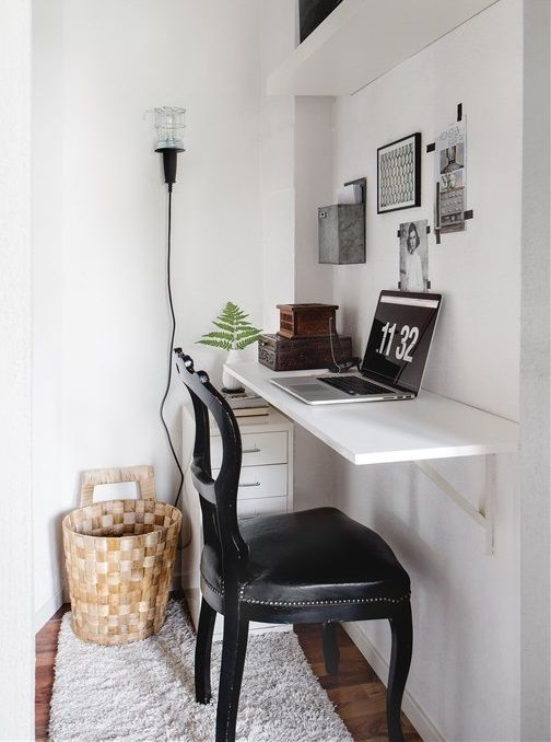 Even if your apartment is really little, it's nice to have a dedicated workspace. But how are you going to fit it in? Here's a favorite trick of ours: a wall mounted desk. They take up much less space than a freestanding piece of furniture, and have a nice minimal look to boot. Here are a few of our favorite examples.