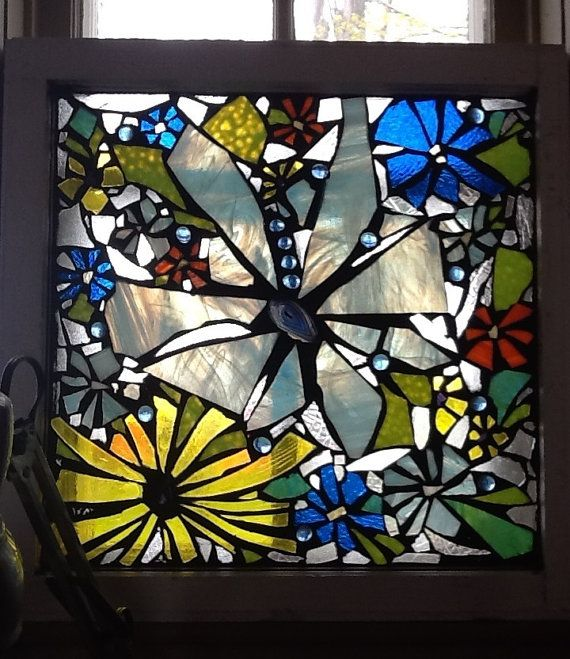 Mosaic Stained Glass Window-- In The Bathroom Window- A