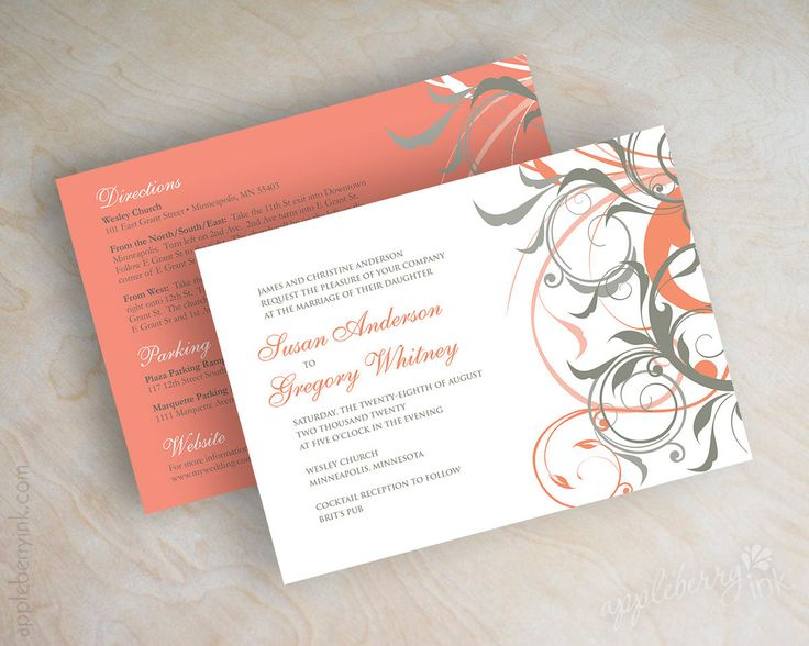 Coral And Gray Wedding Invitations Coral And Grey By Appleberryink
