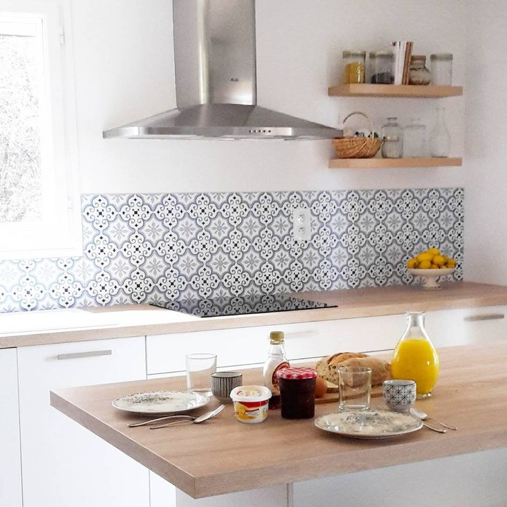 Kitchen cement tiles backsplash wood and for Cement tiles for kitchen