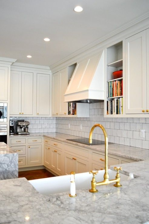 Amazing Kitchen Features Off White Cabinets Paired With