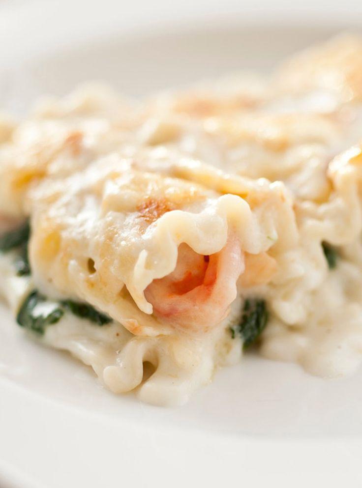 Recette de Ricardo de lasagne aux crevettes et aux épinards