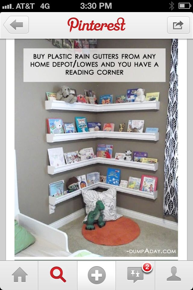 Reading corner thanks to plastic gutters! Library is Outgrowing his Bookcase..My Fault #totadorablebookhoarder