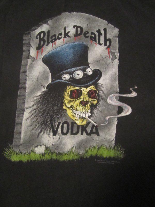 Original Vintage BLACK DEATH VODKA 1992 SLASH SHIRT Size XL (Guns N Roses,Velvet Revolver) RARE