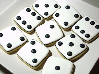 """Dice cookies. Simple and fun for a """"games-night"""" party."""
