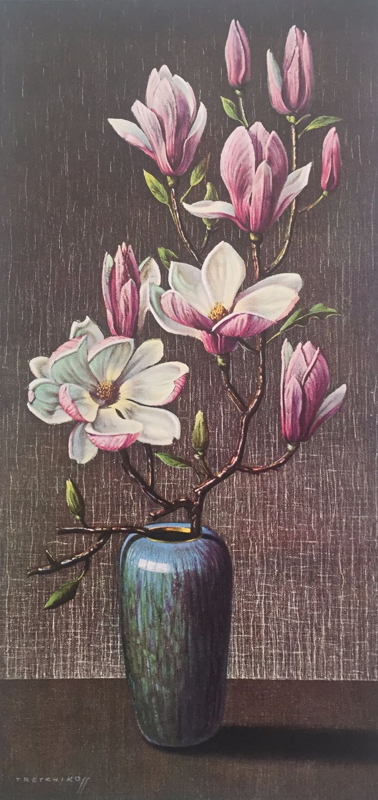 "Tretchikoff's enthusiasm for exotic plants and the influence of the east is evident in this composition entitled ""Pink Magnolia"". The magnolia plant is indigenous to Japan. #Tretchikoff #Magnolia #Art #Artist #East #Africa #Exoticplants #Painting #ArtPrint"