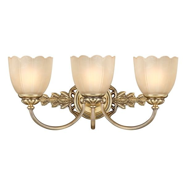 Elstead Hinkley Isabella 3lt Above Mirror Bathroom Light  Elstead Hinkley Isabella 3lt Above Mirror Bathroom Light made from solid brass with elegant details and classical flair with scalloped marble etched amber glass. Suppleid with 1 x 40w halogen capsule light bulb. Other matching fitting also available.  Isabella's elegant details create a classical flair with flourishing decorative cast detailing and scalloped marbled etched amber glass.