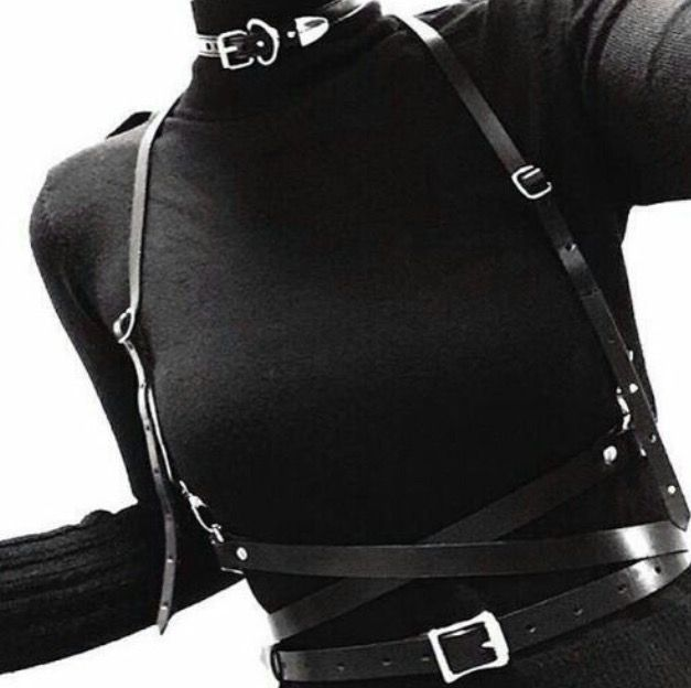underbust harness / leather / sci fi / cyber / urban dystopia / fetish / bondage / black / post apocalyptic inspiration / fashion for women / cosplay / LARP