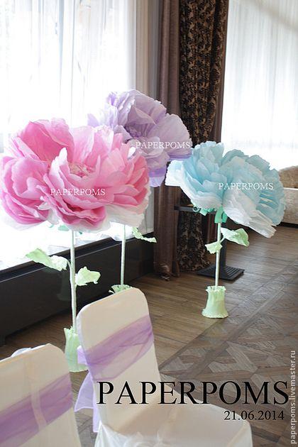 Свадебные аксессуары ручной работы. Ярмарка Мастеров - ручная работа. Купить Пионы на ножке от 1 м. Handmade. Бумажные цветы