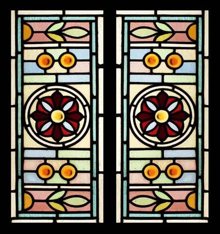 CIRCA 1900 VICTORIAN Stained Glass SIDELIGHTS