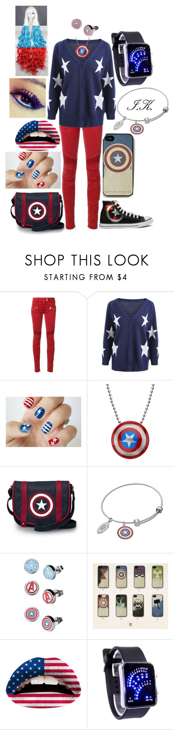 """""""Untitled #224"""" by shellychand ❤ liked on Polyvore featuring Balmain, Loungefly, Marvel, Converse and Violent Lips"""
