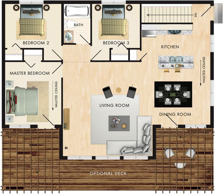 Except put mirrored bedrooms on right, living area through centre, but widened - entrance where bedroom 3 is now