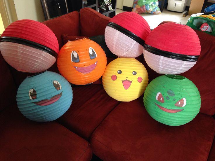 DIY Pokemon Paper Lanterns #birthday #decor #DIY