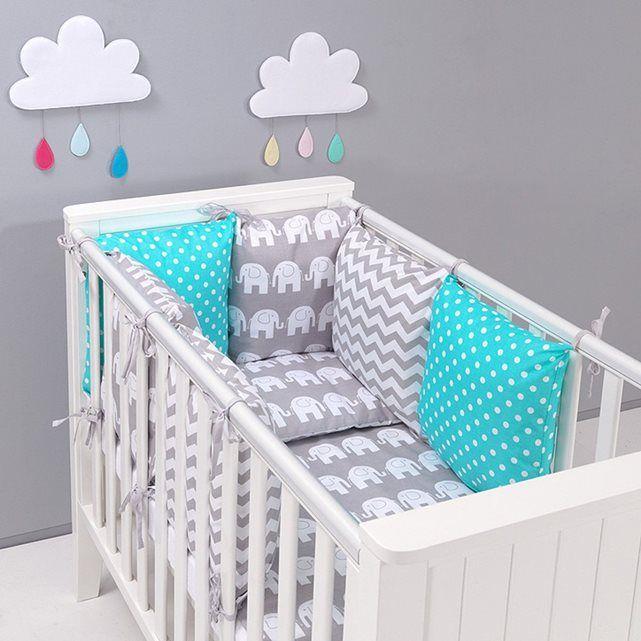 Tour de lit coussins modulable avec parures - design réversible ZigZag Eléphnats - Gris/Turquoise