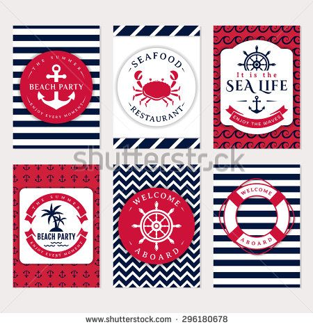 Set of nautical and marine banners and flyers. Elegant card templates in white, navy blue and pink colors. Sea theme. Vector collection.  - stock vector