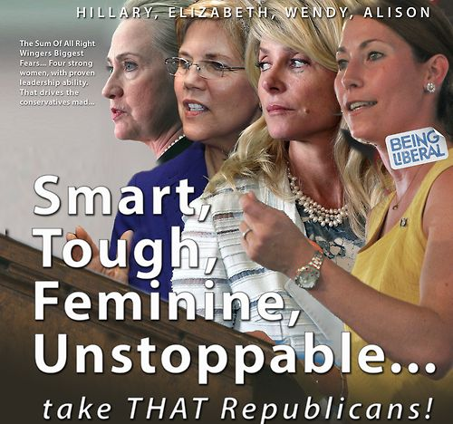 We took the hint from Being Liberal fans and added Elizabeth Warren to our latest cover picture. That's a poster for a the Political Reality TV show that we will see soon, starring the women like Hillary Clinton, Senator Wendy R. Davis, Alison Lundergan Grimes ... I have no doubt that there are MORE of them, around the USA!