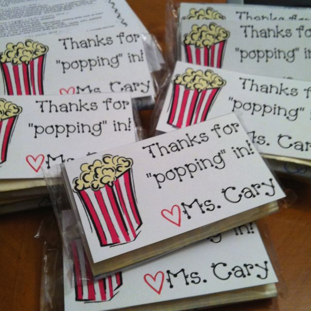 popcorn and note to send home with parents/kids at Meet the Teacher!Back To Schools, Schools Night, Open House, House Ideas, Teachers Night, Parents Kids, Cute Ideas, Movie Night, Classroom Ideas