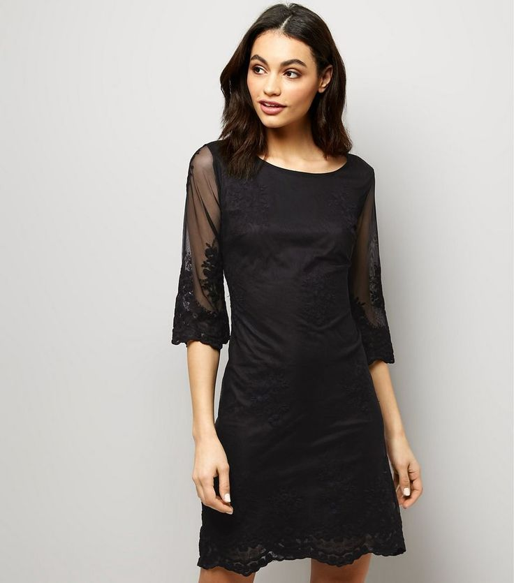 Mela Black Mesh Embroidered Sleeve Midi Dress  | New Look