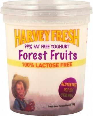 Harvey Fresh Lactose Free, Gluten Free, 99% Fat Free Yoghurt Forest Fruits 1kg  www.harveyfresh.com.au