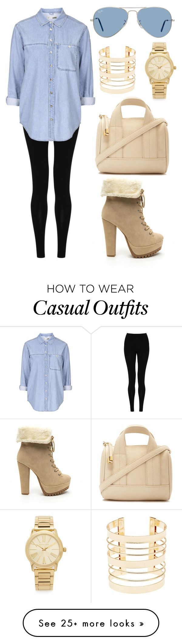 """Casual: Denim and cream"" by chaaaantelle01 on Polyvore featuring M&S Collection, Topshop, Forever 21, Charlotte Russe, Michael Kors and Ray-Ban"