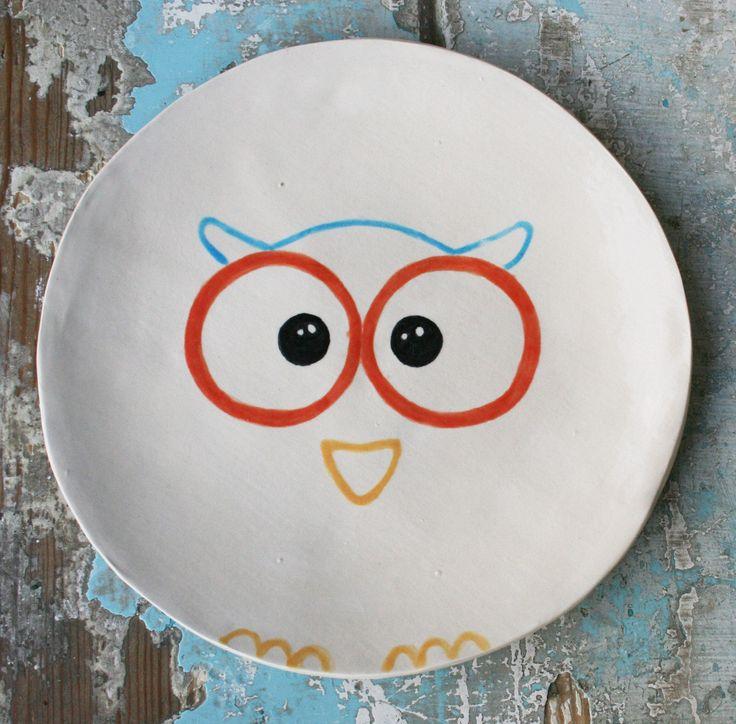Plato búho // Vajilla // Plato //  Vajilla de cerámica // Dinnerware // Pottery // Plato de postre // Plato decorativo de BambucitoCeramica en Etsy