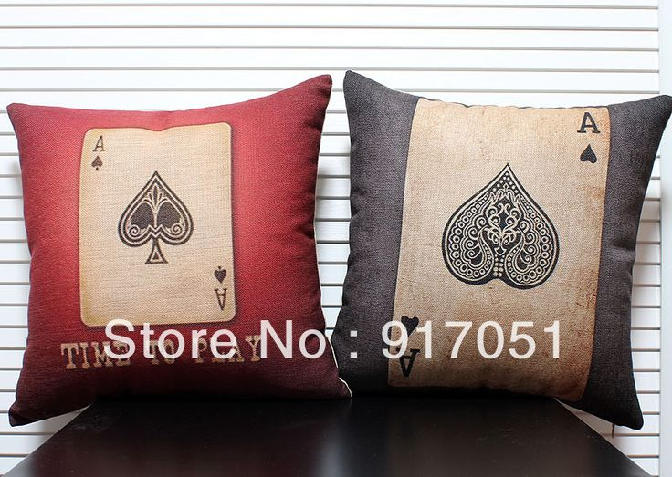 Frete grátis Novidade engraçado que joga o póquer Ace of Spades padrão feitas à mão caso capa de almofada jogar travesseiro US $14.99