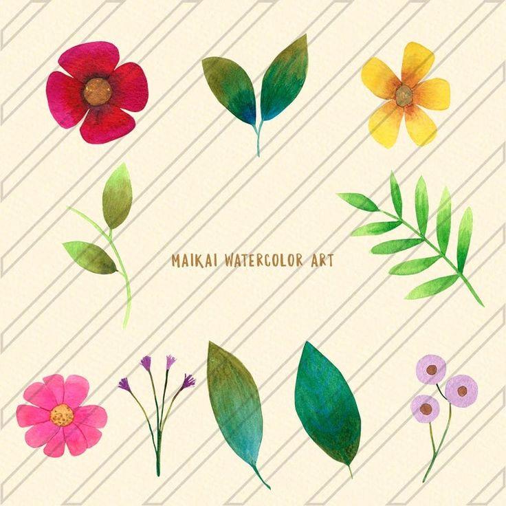Watercolor Floral Clipart / Floral Elements / Watercolor Flower Clip Art / / PNG Instant Download / Flowers Graphic Design
