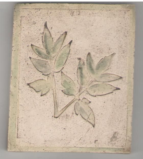 Hand made tile with leaf impression by Bella Odendaal