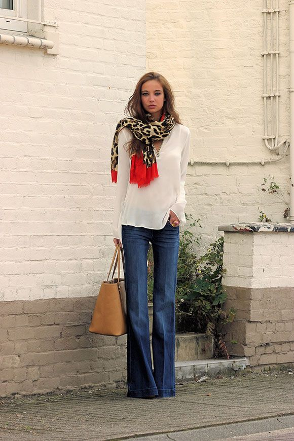 scarf, flared denim and a simple blouse