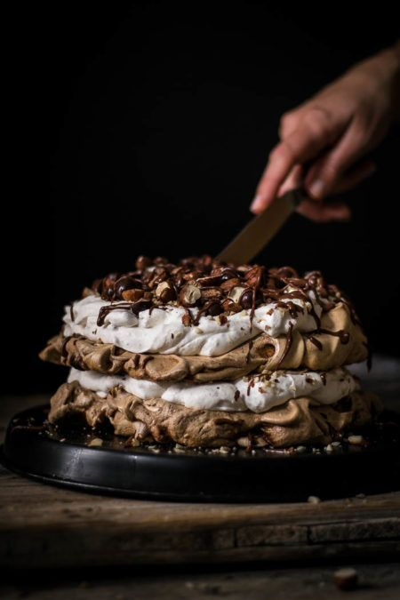 Chocolate Layered Hazelnut Pavlova