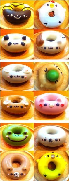 Japanese doughnuts... SO CUTE!!! I LOVE THE PIG ONE!